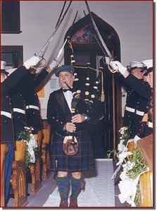 George Balderose under sword salute